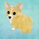 Corgi Puppy With Flower Crown Oil Painting by Monica Michelle