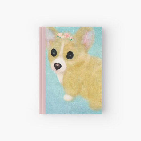 Corgi Puppy With Flower Crown Oil Painting Hardcover Journal