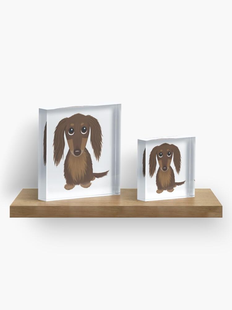 Alternate view of Longhaired Chocolate Brown Dachshund Cartoon Dog Acrylic Block