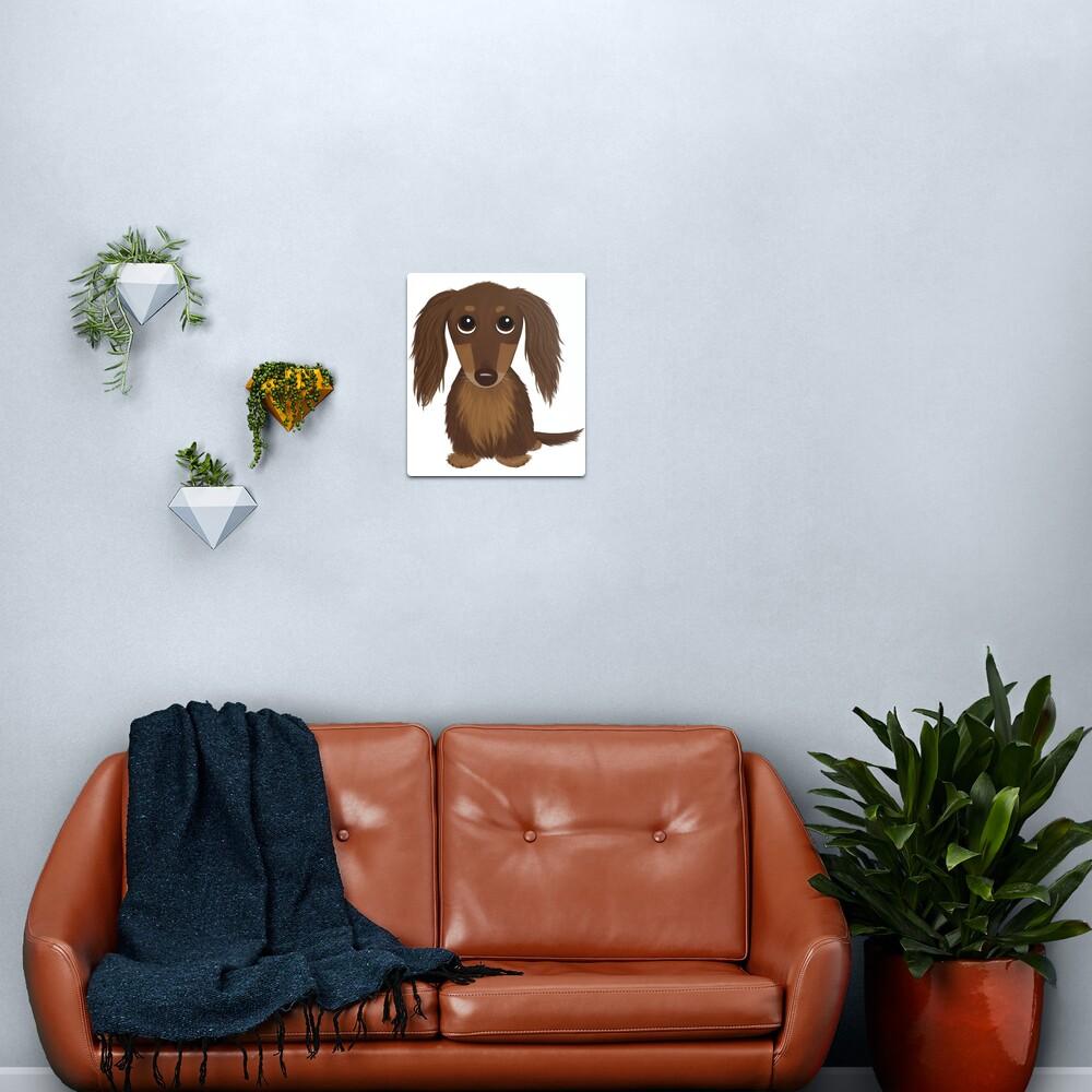 Longhaired Chocolate Brown Dachshund Cartoon Dog Metal Print