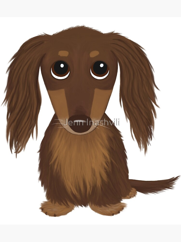Longhaired Chocolate Brown Dachshund Cartoon Dog by ShortCoffee