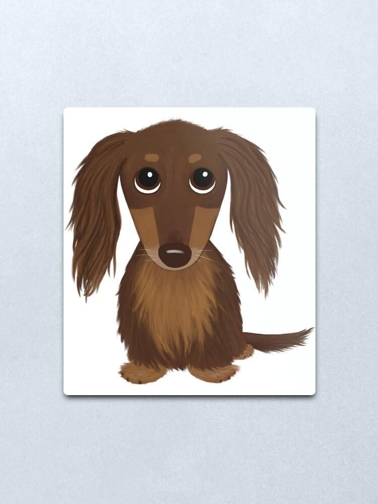Alternate view of Longhaired Chocolate Brown Dachshund Cartoon Dog Metal Print