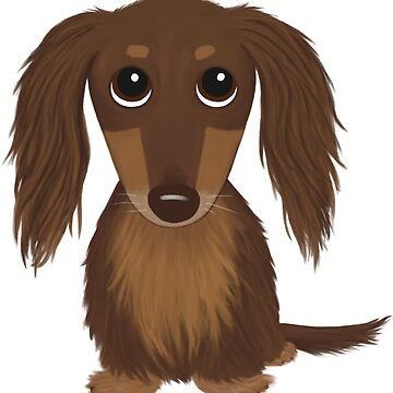 Long Haired Chocolate Brown Dachshund Cartoon Dog by ShortCoffee