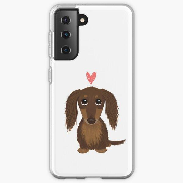 Longhaired Chocolate Dachshund   Cute Wiener Dog with Heart Samsung Galaxy Soft Case
