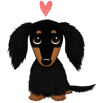 Black and Tan Long Haired Dachshund with Heart by ShortCoffee