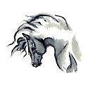 Gray Horse Watercolor by RavensLanding