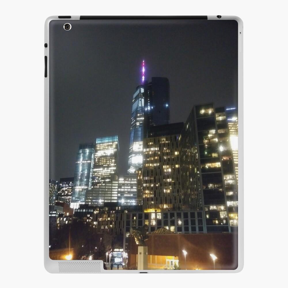 Building, skyscraper, symmetry, night lights, sky, evening, city view iPad Case & Skin