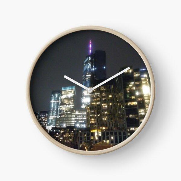 Building, skyscraper, symmetry, night lights, sky, evening, city view Clock