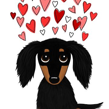 Black and Tan Long Haired Dachshund with Hearts by ShortCoffee