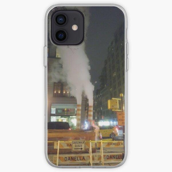 Building, skyscraper, symmetry, night lights, sky, evening, city view iPhone Soft Case