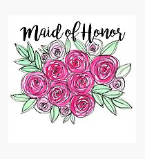 Maid of Honor Wedding Pink Roses Watercolor Photographic Print