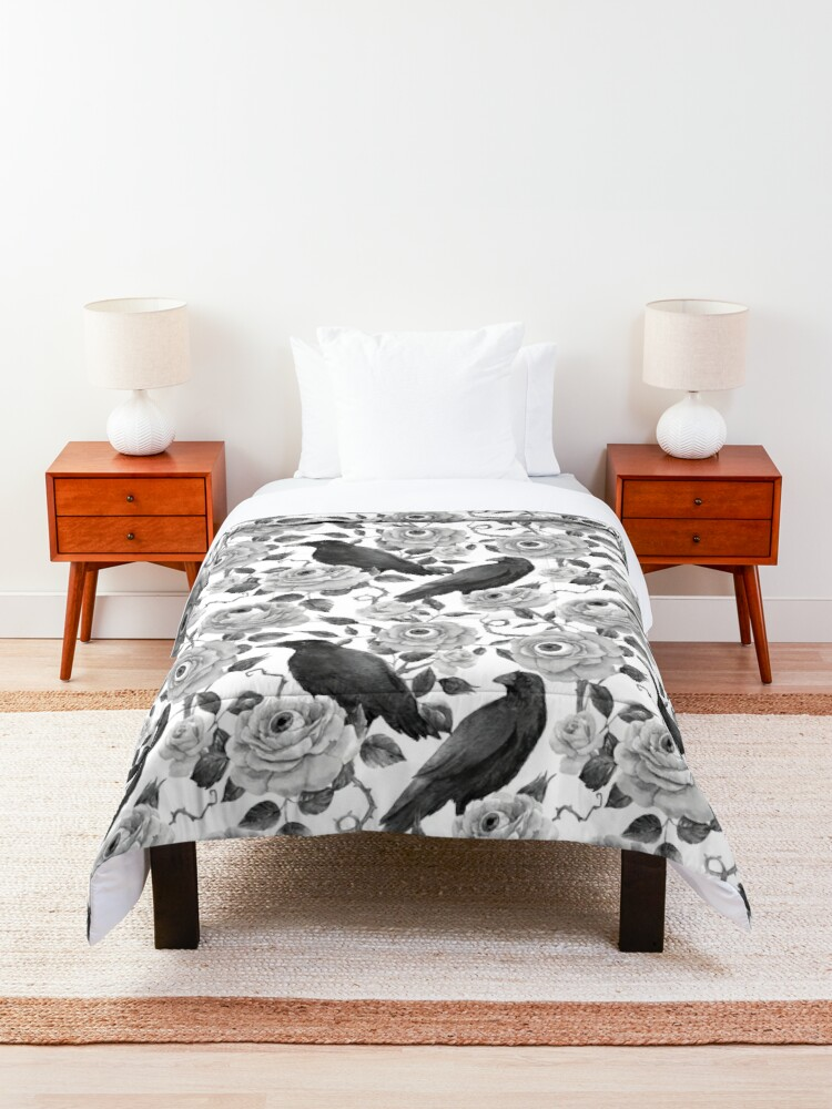 Alternate view of Edgar Allen Poe Nevermore Watercolor Black and White Ravens with Roses and Eyeballs Comforter