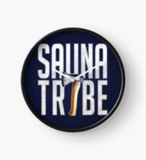 Sauna Tribe - Stacked Axe Wordmark Clock