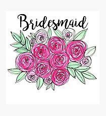 Bridesmaid Wedding Pink Roses Watercolor Photographic Print