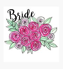 Bride Wedding Pink Roses Watercolor Photographic Print