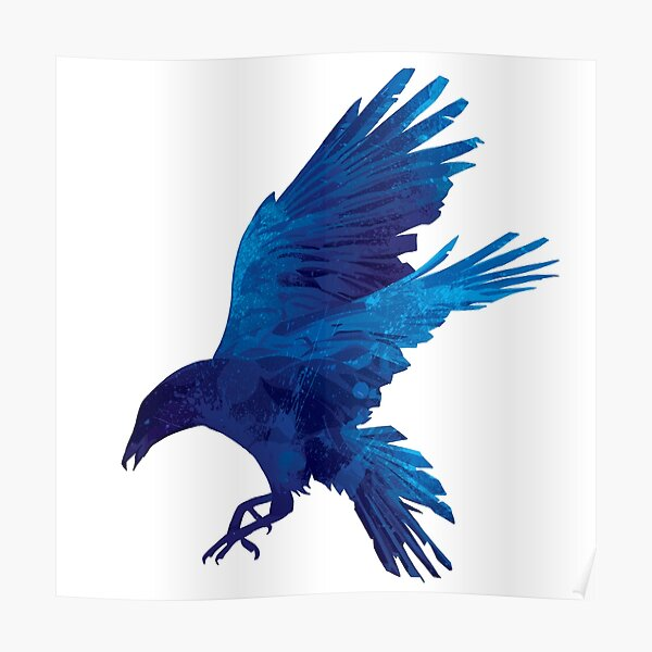 Raven Blue Painting Poster