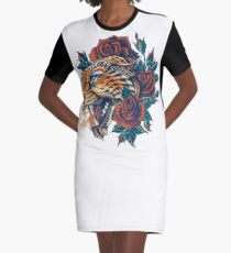Leopard adornado (Versión en color) Vestido camiseta