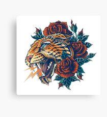 Verzierter Leopard (Farbversion) Leinwanddruck