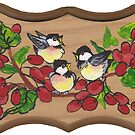 chickadees and berries by redqueenself