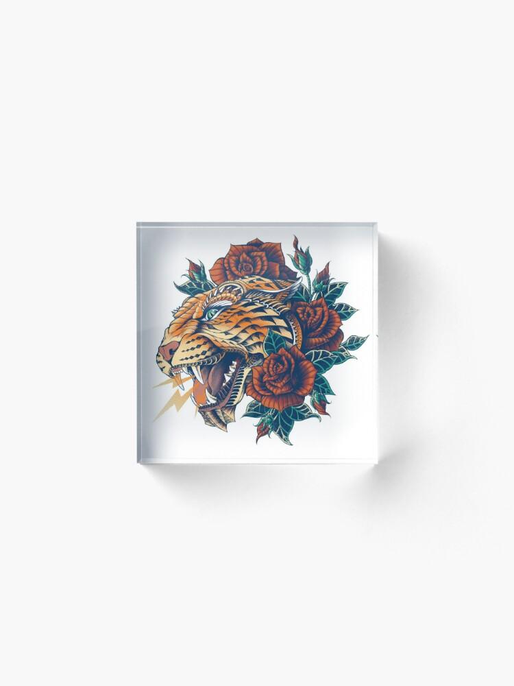 Alternate view of Ornate Leopard (Color Version) Acrylic Block