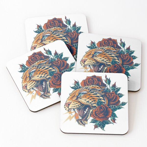 Ornate Leopard (Color Version) Coasters (Set of 4)