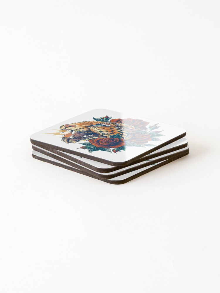 Alternate view of Ornate Leopard (Color Version) Coasters (Set of 4)