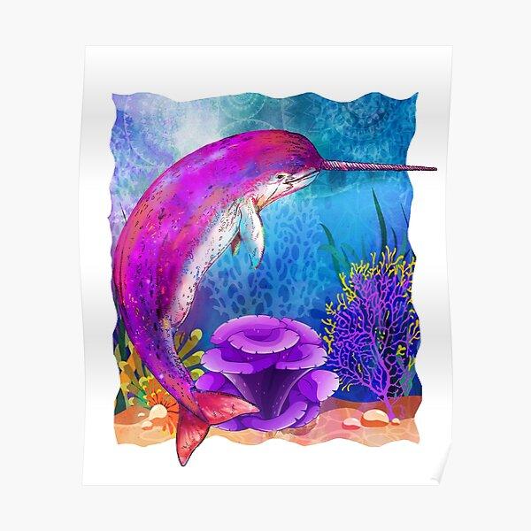 Rainbow Mermaids Narwhal Design Poster