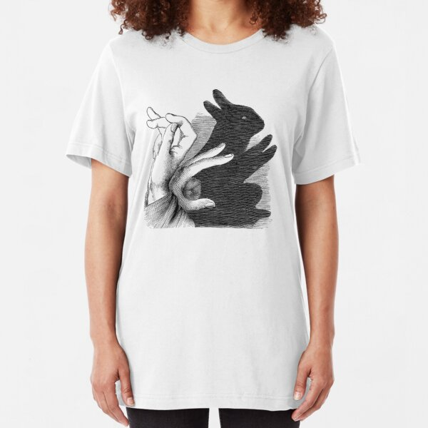 Hands Shadow Make a n Image Of Rabbit  Slim Fit T-Shirt