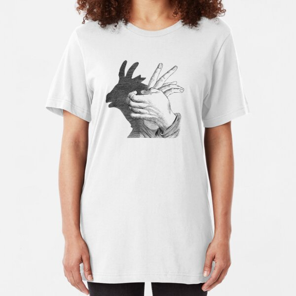 Hands Shadow image makes a sketch of Goat Slim Fit T-Shirt