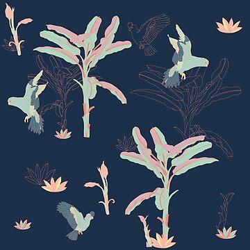 Parrots & Banana Trees Dark Version by likidddsign