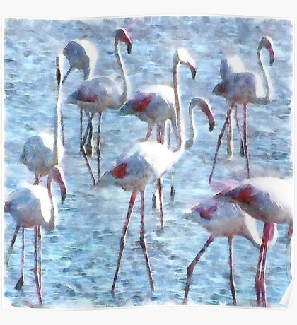 Stand Out In the Crowd Flamingo Watercolor Poster
