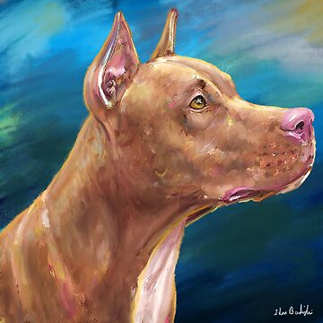 Expressive Painting of a Red Nose Pit Bull On Blue Background by ibadishi