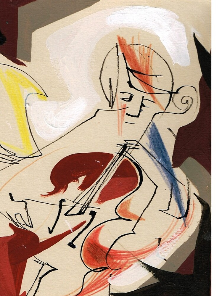 Cello and Guitar Player Musicians Painting Drawing by CatarinaGarcia