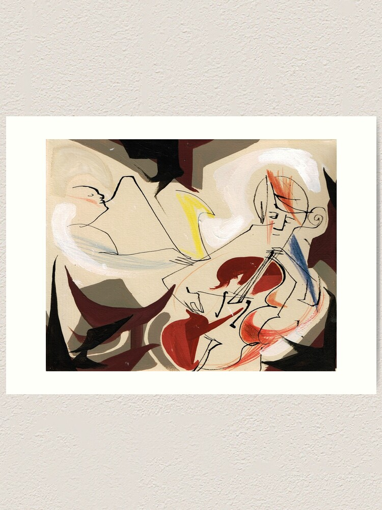 Alternate view of Cello and Guitar Player Musicians Painting Drawing Art Print