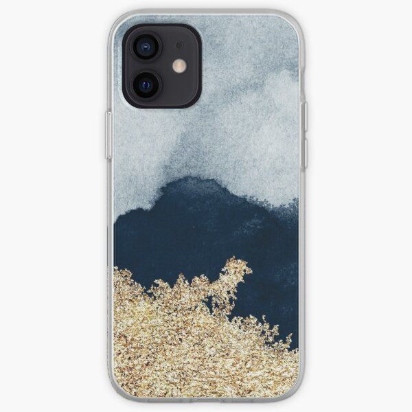 Extravagant Watercolor Ombre with Gold iPhone Soft Case
