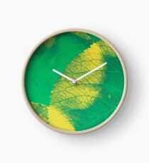Green Leaf Spring Pattern Clock