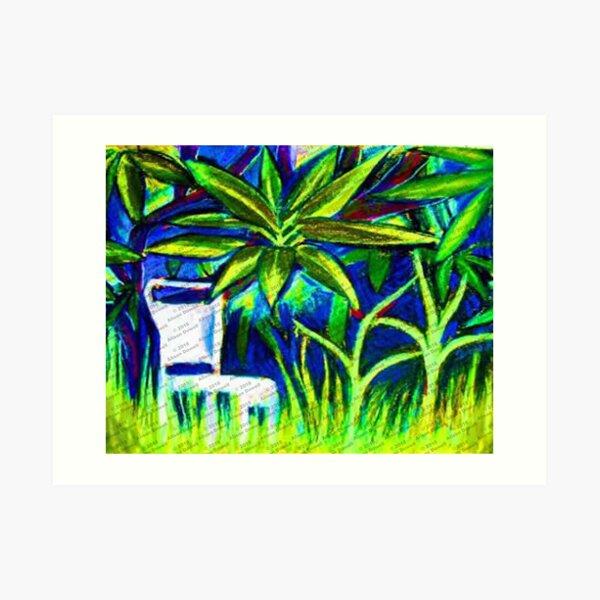Chair under the frangipanni Art Print