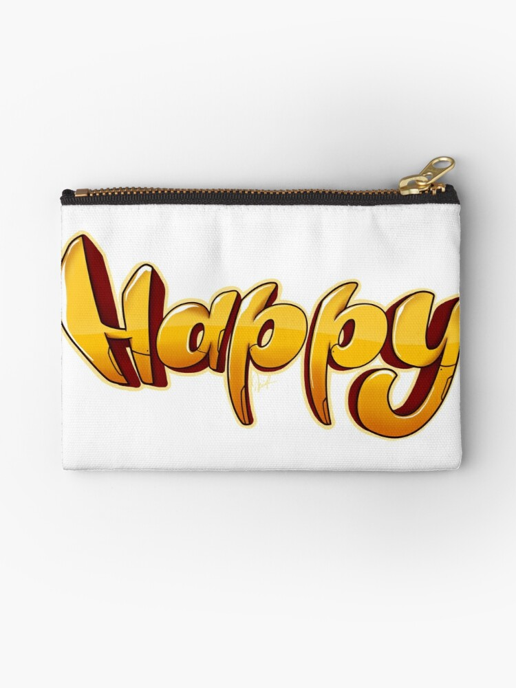 Happy Word Graffiti Art Letters Style Drawing Zipper Pouch By Kirart