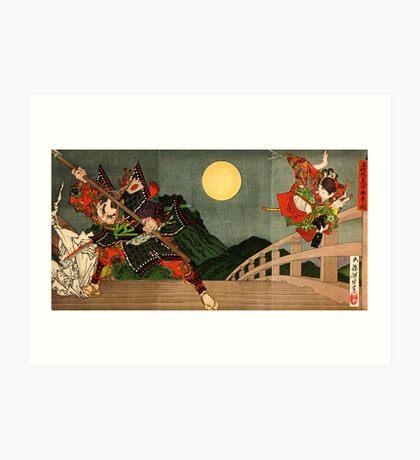 Samurai battle on Gojo Bridge Art Print