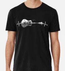 Camiseta premium para hombre Mi corazón late por la música y la naturaleza