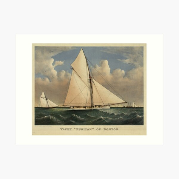 Vintage Boston Yacht - Puritan - Illustration (1885) Art Print