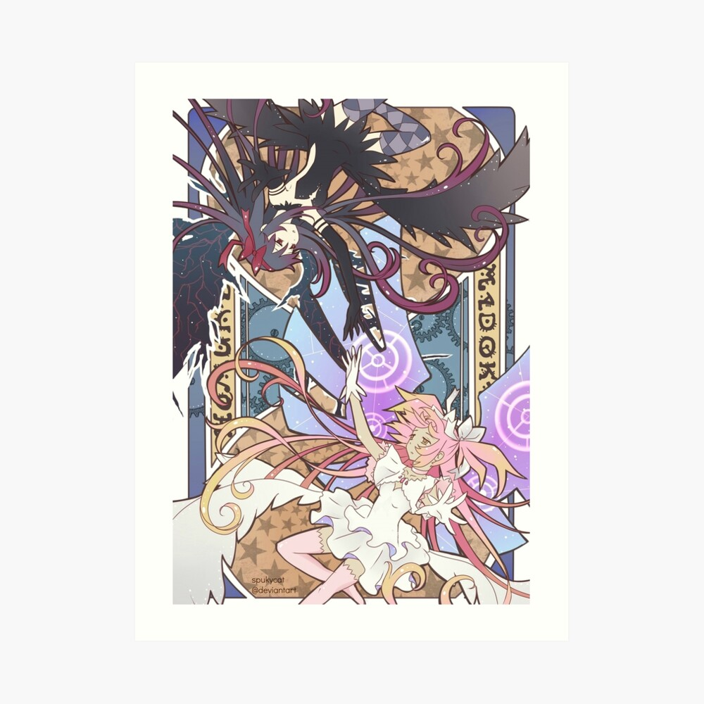 Madoka und Homura Kunstdruck