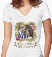 Prince Harry and Meghan Markle Women's Fitted V-Neck T-Shirt