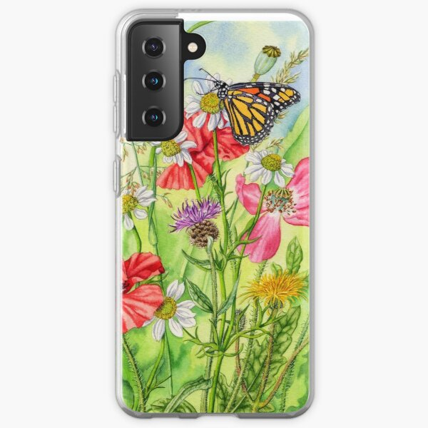 Monarch Butterfly and Wild Flowers (watercolour on paper) Samsung Galaxy Soft Case