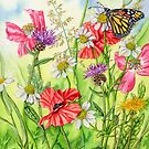 Monarch Butterfly and Wild Flowers (watercolour on paper) by Lynne Henderson