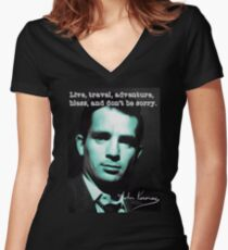 Jack kerouac Women's Fitted V-Neck T-Shirt