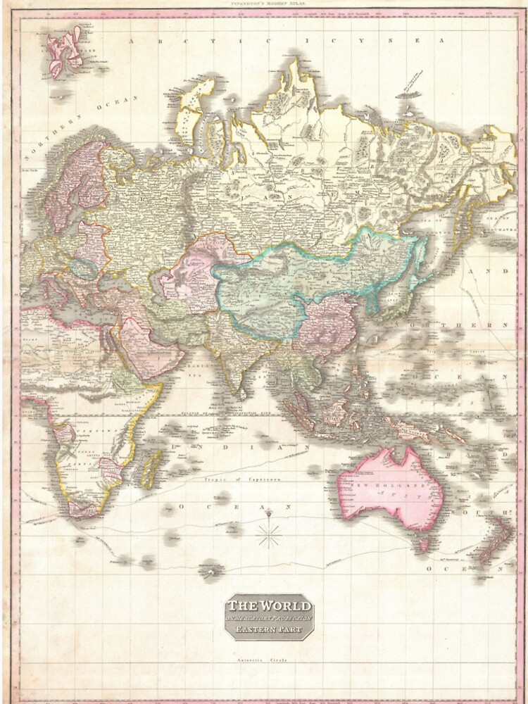 Vintage Map of The Eastern Hemisphere (1818) by BravuraMedia