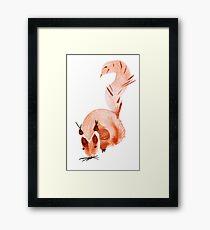 watercolor squirrel. Watercolor hand drawn brush Framed Print