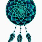 Dreamcatcher Drawing Design Blue by Cveta
