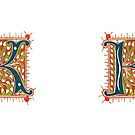 K letter decorative ornamental for mugs by coralZ